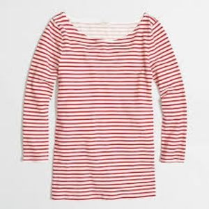 J. Crew Striped Boatneck 3/4 Sleeve Tee